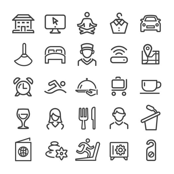 hotel icons set - smart line serie - betttablett stock-grafiken, -clipart, -cartoons und -symbole