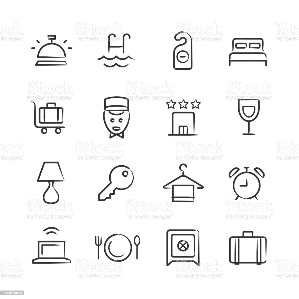 Hotel Icons — Sketchy Series vector art illustration