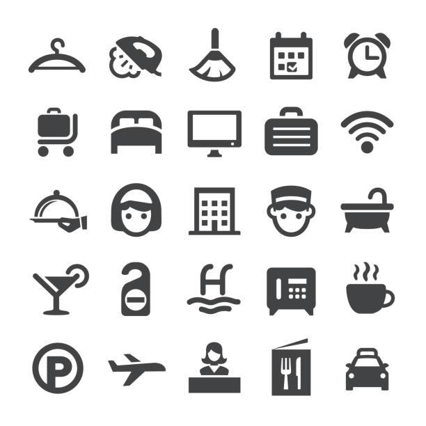 hotel icons - smart-serie - betttablett stock-grafiken, -clipart, -cartoons und -symbole