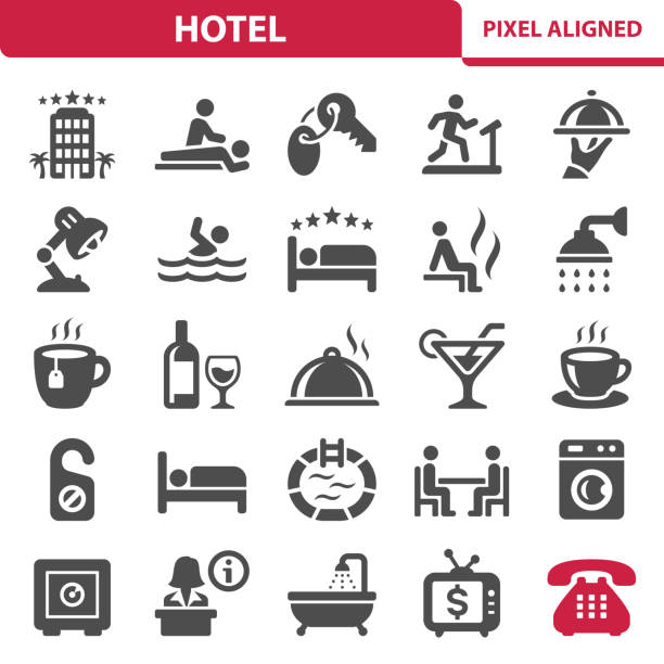 Hotel Icons Professional, pixel perfect icons, EPS 10 format. hotel stock illustrations