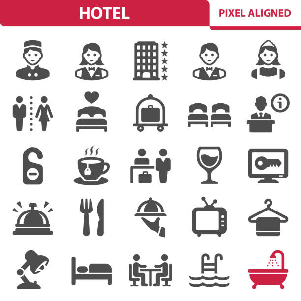 ikony hoteli - bar lokal gastronomiczny stock illustrations