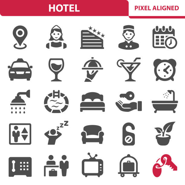 stockillustraties, clipart, cartoons en iconen met hotel pictogrammen - bad date