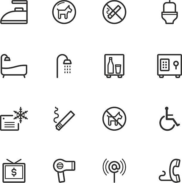 stockillustraties, clipart, cartoons en iconen met hotel icons - cell phone toilet