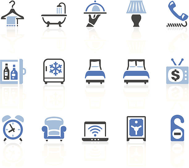 hotel icons - betttablett stock-grafiken, -clipart, -cartoons und -symbole