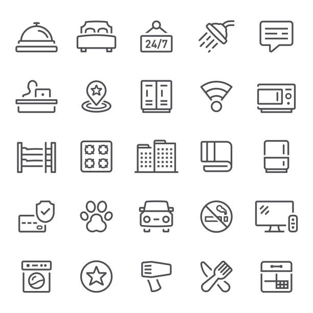 hotel icons - receptionist stock illustrations, clip art, cartoons, & icons