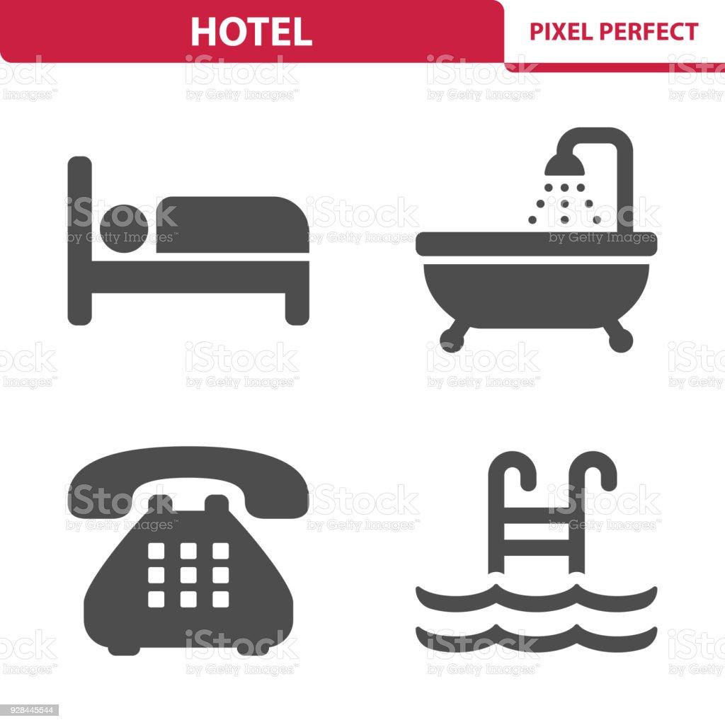 Ícones do Hotel - ilustração de arte em vetor