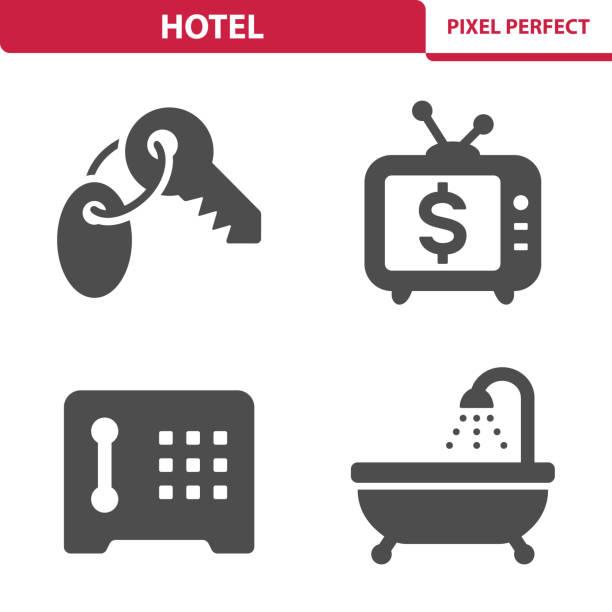 hotel icons - schließfachsachen stock-grafiken, -clipart, -cartoons und -symbole