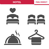 Professional, pixel perfect icons depicting various hotel concepts.