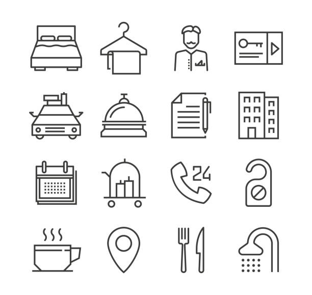 Hotel Icons Hotel Icons hotel stock illustrations