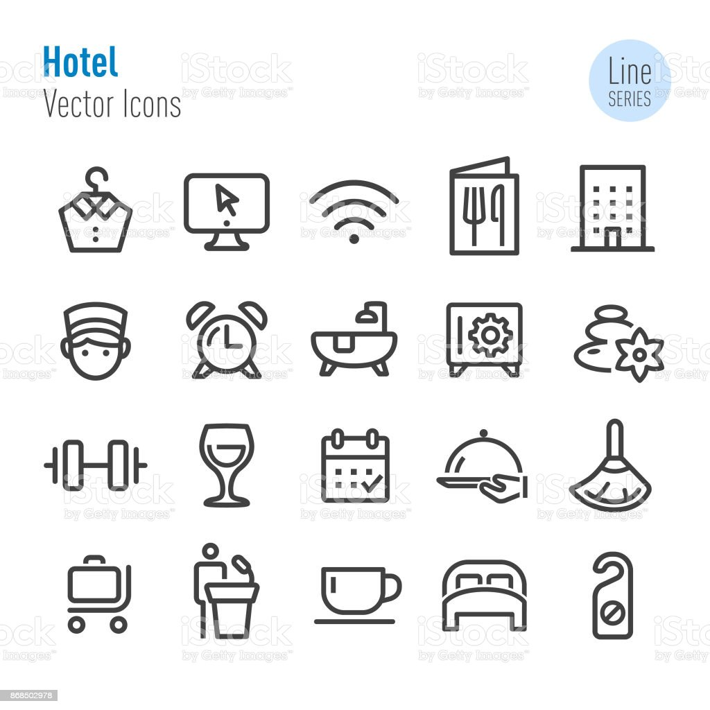 Hotel Icons - Vector Line Series vector art illustration