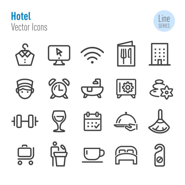 Hotel Icons - Vector Line Series Hotel, Tourism, Room Service, Journey, bedroom symbols stock illustrations