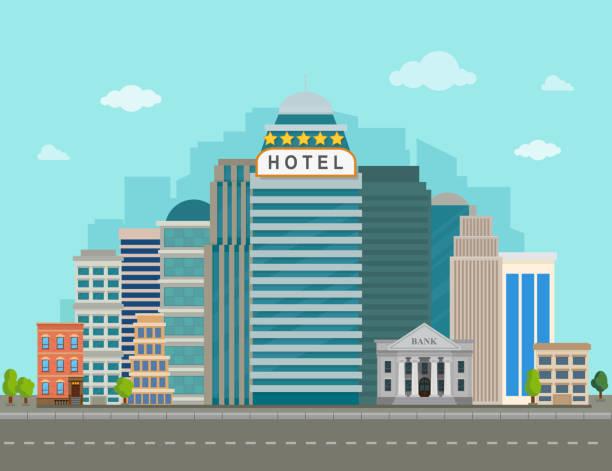 illustrations, cliparts, dessins animés et icônes de hôtel dans le paysage urbain. illustration de vecteur de paysage urbain. - réception en plein air