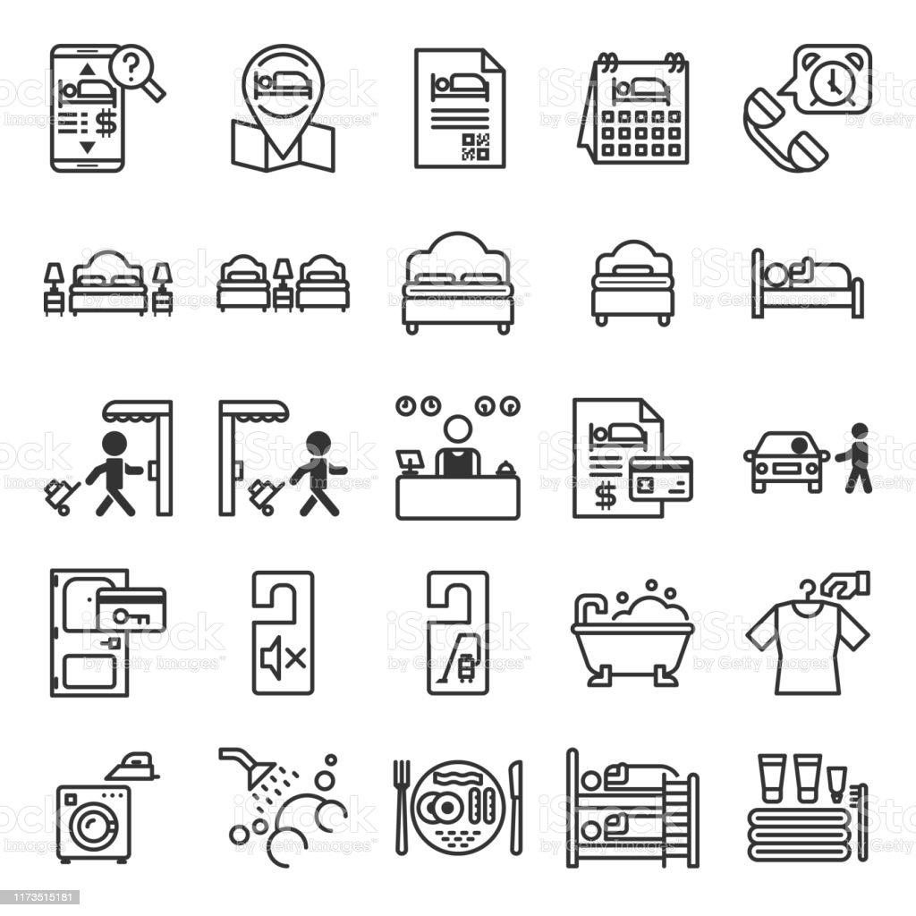 Set di icone Del sistema di informazioni sugli hotel - arte vettoriale royalty-free di Accessibilità