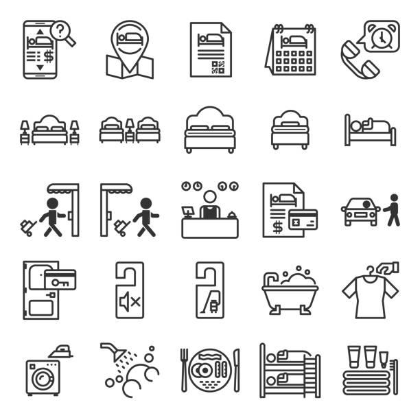 illustrazioni stock, clip art, cartoni animati e icone di tendenza di set di icone del sistema di informazioni sugli hotel - hotel checkin