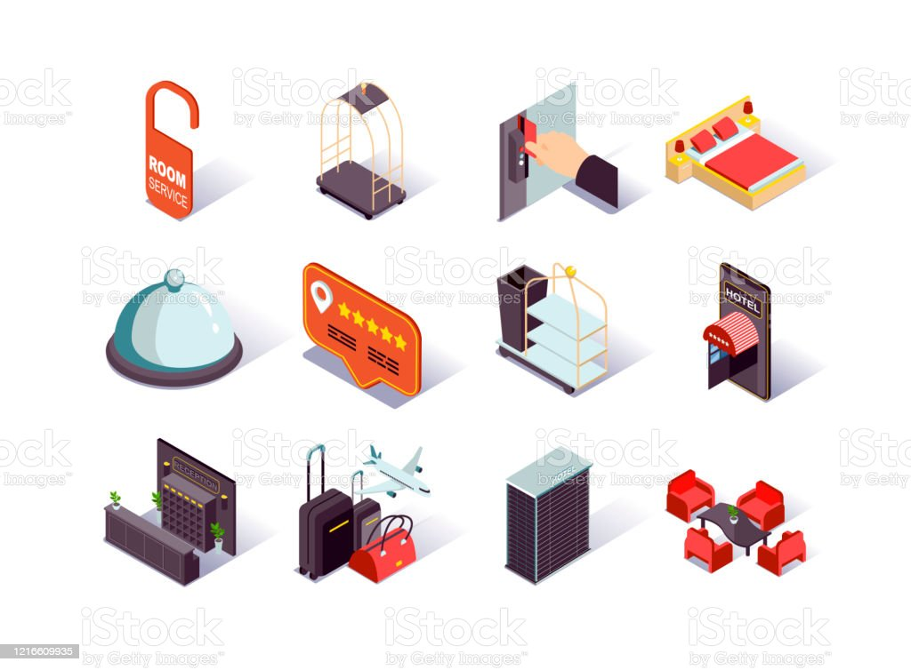 Hotel infrastructure isometric icons set. Hotel booking and review, reception desk, restaurant, lobby, suitcases and room service pictograms. - Grafika wektorowa royalty-free (Bagaż)