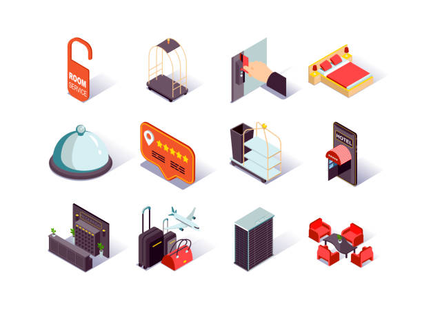 Hotel infrastructure isometric icons set. Hotel booking and review, reception desk, restaurant, lobby, suitcases and room service pictograms. vector art illustration