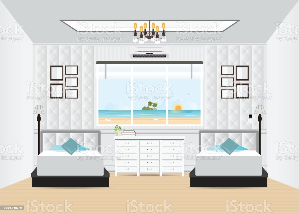 Hotel interior room with double bed and furniture. vector art illustration