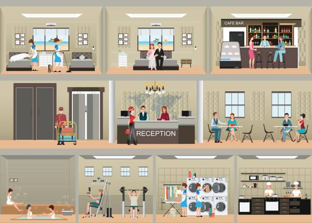 hotel interior set with reception. - hotel reception stock illustrations