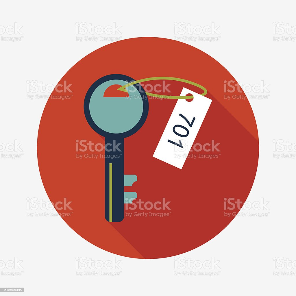 hotel key flat icon with long shadow vector art illustration