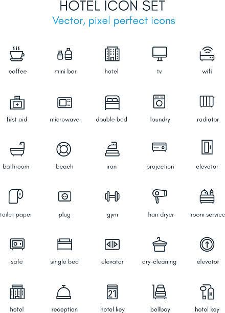 hotel-linie-icon-set. - mittel stock-grafiken, -clipart, -cartoons und -symbole