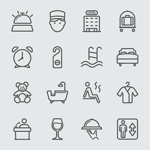 hotel-linie-icon - sauna stock-grafiken, -clipart, -cartoons und -symbole