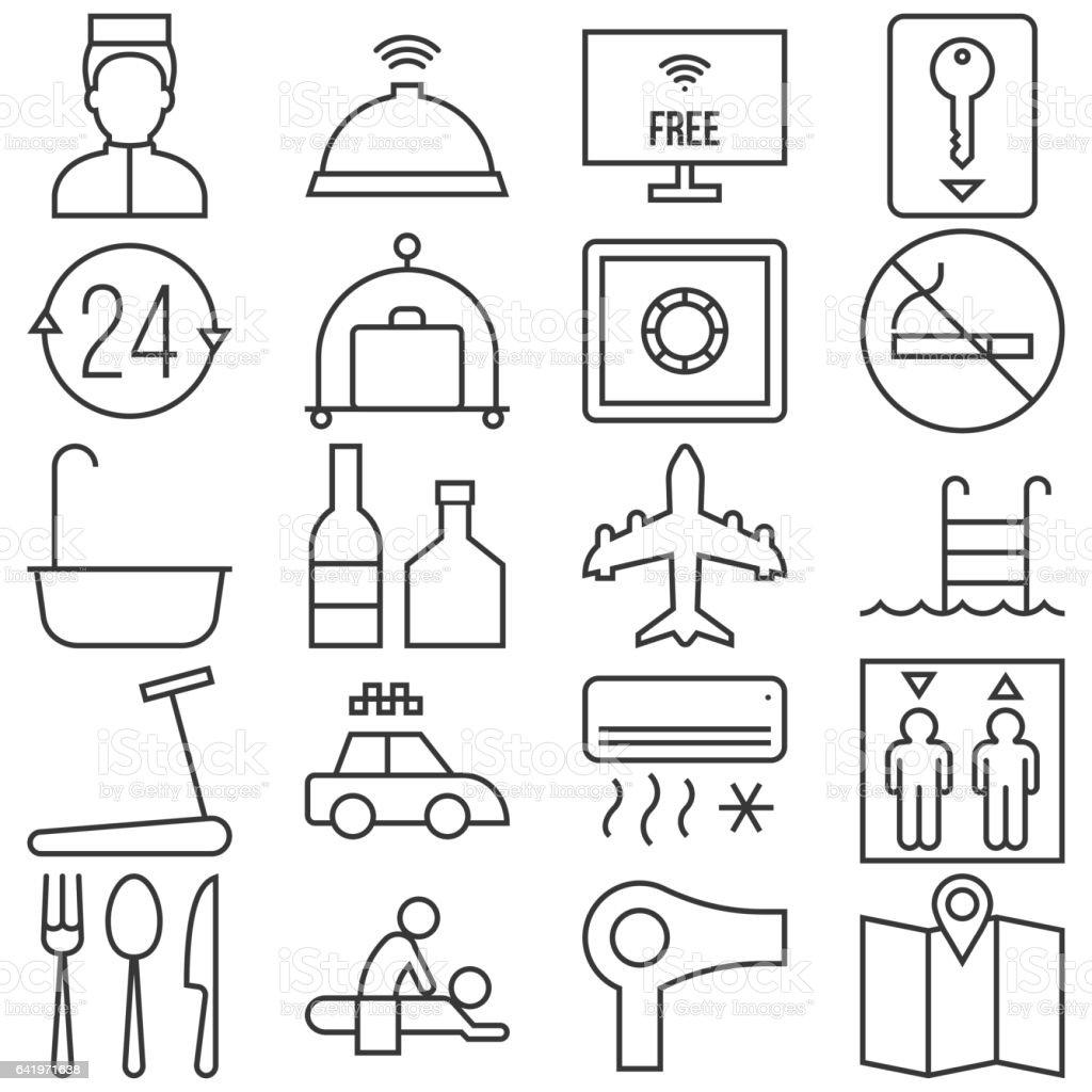 Hotel line icon vector art illustration