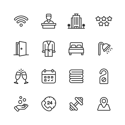 Hotel Line Icons. Editable Stroke. Pixel Perfect. For Mobile and Web. Contains such icons as Hotel, Receptionist, Wifi, Luxury Hotel, Five Stars, Bathrobe,  Double Bed, Shower, Towel, Booking, Gym, Fitness, Champagne, Do Not Disturb Sign, Calendar.