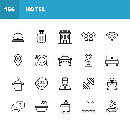Hotel Line Icons. Editable Stroke. Pixel Perfect. For Mobile and Web. Contains such icons as Hotel, Service, Luxury, Hotel Reception, Taxi, Restaurant, Bed, Towel, Support, Swimming Pool, Bath, Location, Beach, Key, Breakfast, Receptionist, Hostel.