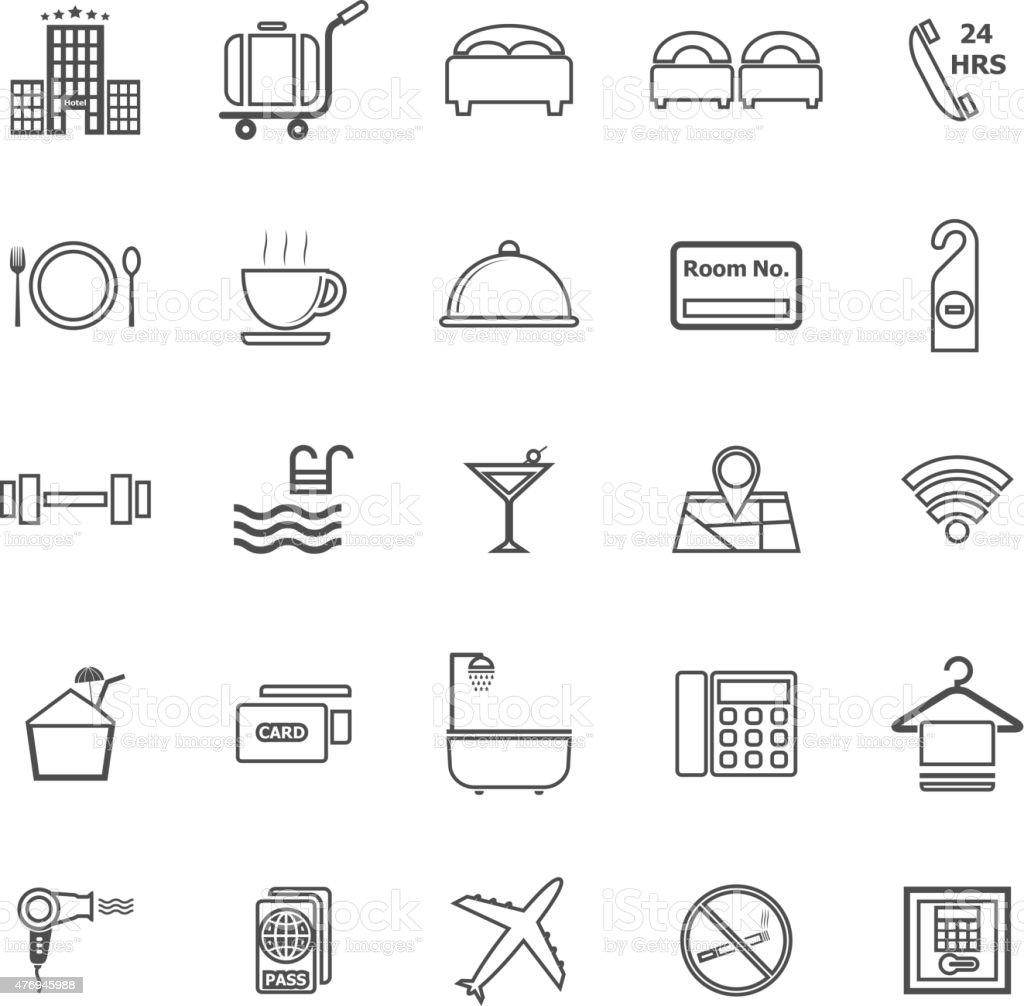Hotel line icons on white background vector art illustration
