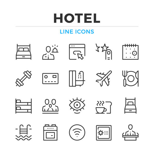Hotel line icons set. Hotel amenities, hotel facilities. Modern outline elements, graphic design concepts. Stroke, linear style. Simple symbols collection. Vector line icons Hotel line icons set. Hotel amenities, hotel facilities. Modern outline elements, graphic design concepts. Stroke, linear style. Simple symbols collection. Vector line icons hotel stock illustrations