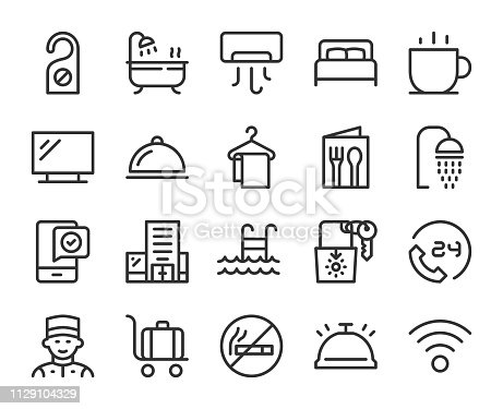 Hotel Line Icons Vector EPS File.