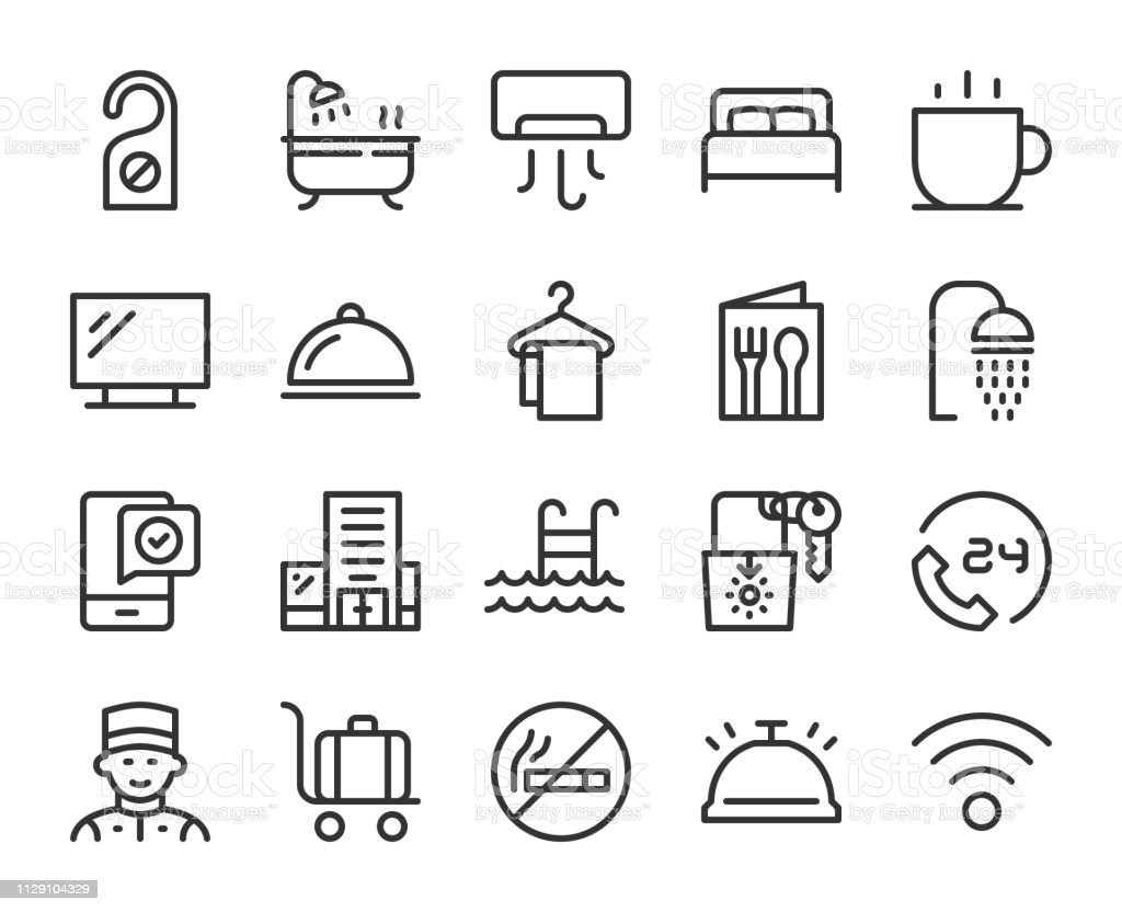 Hotel - Line Icons vector art illustration