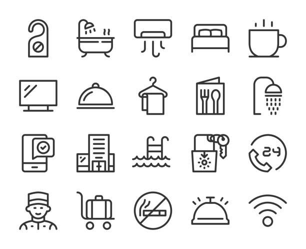 Hotel - Line Icons Hotel Line Icons Vector EPS File. hotel stock illustrations
