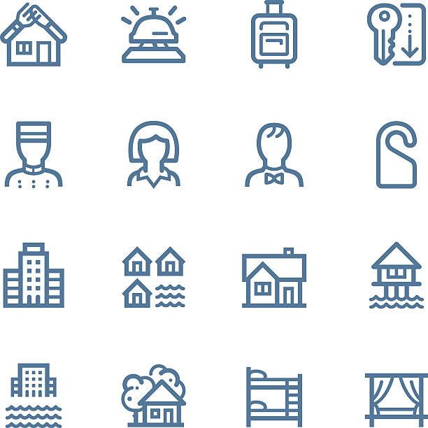 Hotel Line icons vector art illustration