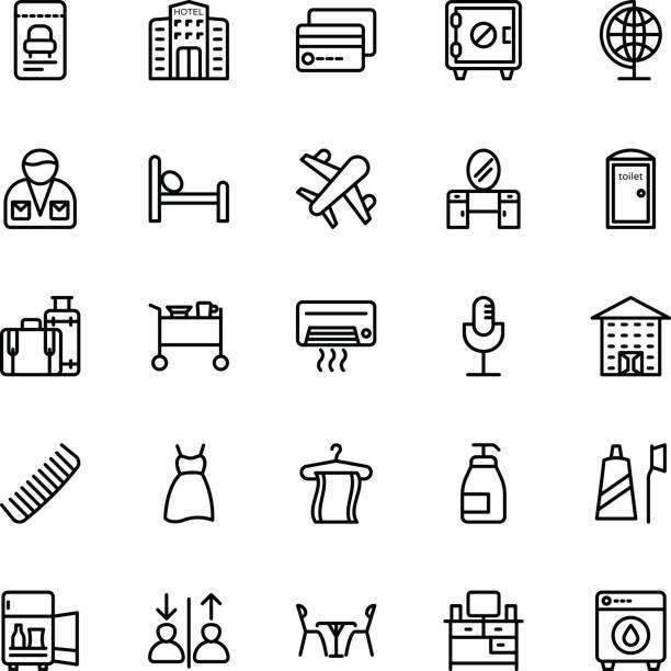 ilustrações, clipart, desenhos animados e ícones de ícones de vetor linha hotel 10 - mulher passando creme