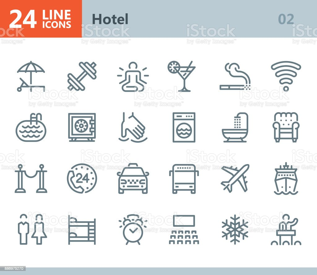 Hotel - line vector icons vector art illustration