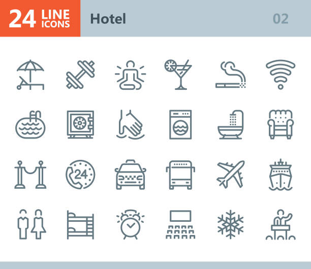 hotel - line vector icons - massage stock illustrations