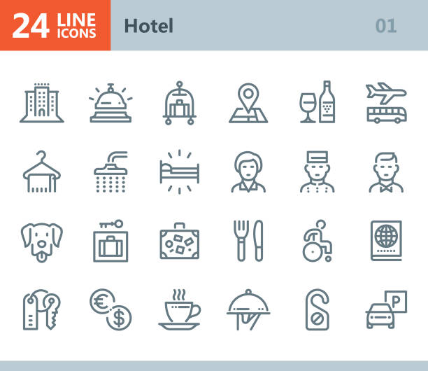 Hotel - line vector icons Vector Line icons set. One icon consists of a single object. Files included: Vector EPS 10, HD JPEG 3000 x 2600 px hotel stock illustrations