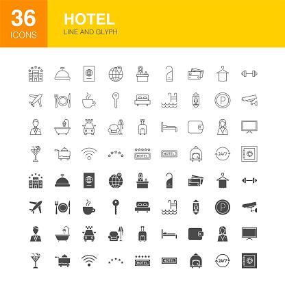 Hotel Line Web Glyph Icons