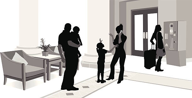 hotellobby - rezeptionseingang stock-grafiken, -clipart, -cartoons und -symbole