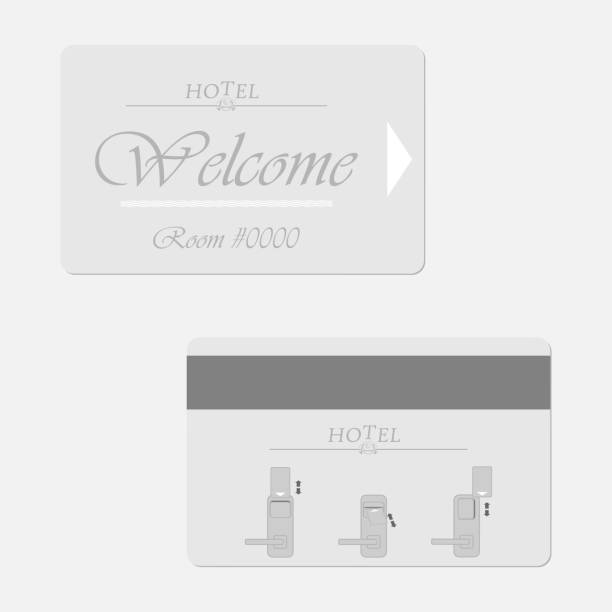 Hotel magnetic stripe key card - front and back, vector template. Hotel magnetic stripe key card - front and back. Motel keycard. Vector template. cardkey stock illustrations