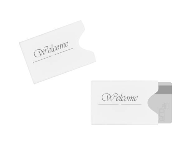 Hotel magnetic stripe key card sleeve holder, vector template Hotel and motel magnetic stripe key card holder isolated on white background. Hospitality card sleeve. Paper envelope. Vector template. cardkey stock illustrations