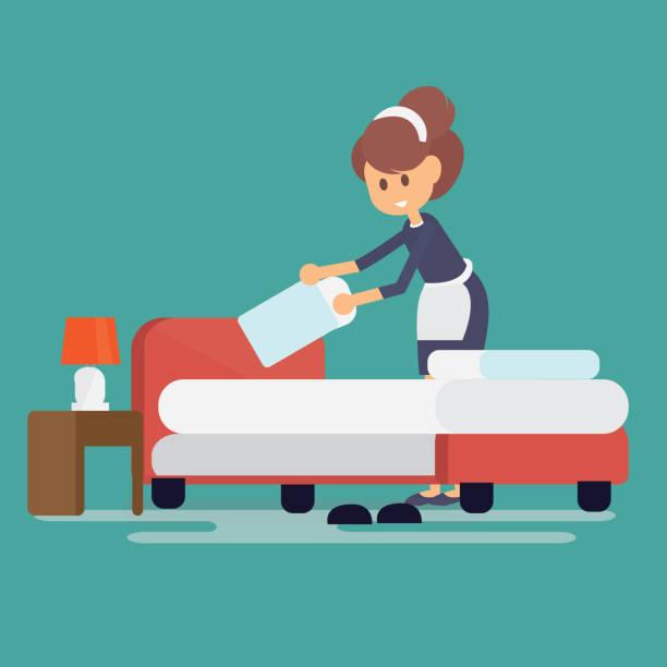 illustrazioni stock, clip art, cartoni animati e icone di tendenza di hotel maid setting up pillow on bed sheet in hotel room - cameriera