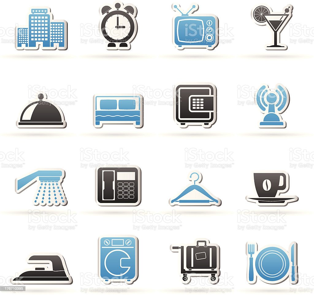 Hotel, motel and travel icons royalty-free stock vector art