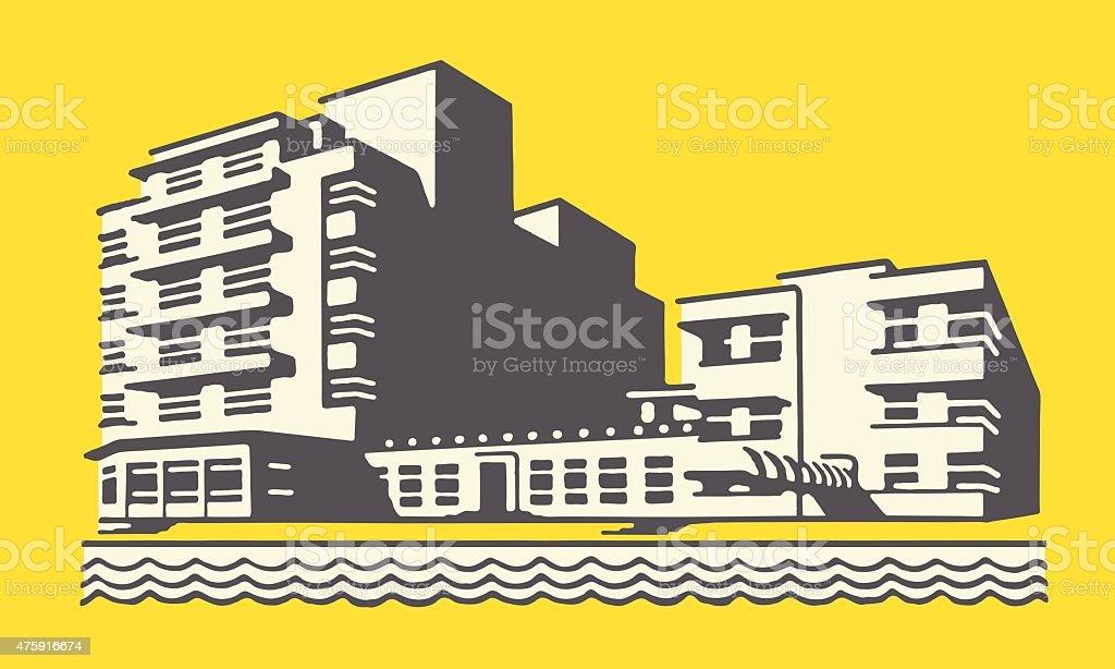 Hotel on Beach vector art illustration