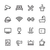 16 line black and white icons / Set #18