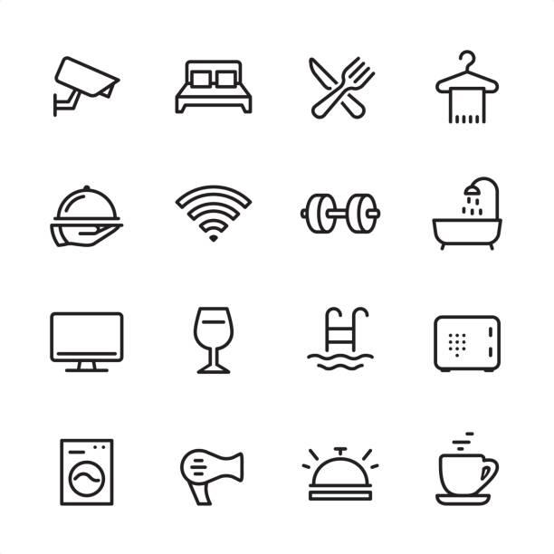 hotel - zestaw ikon konspektu - bar lokal gastronomiczny stock illustrations