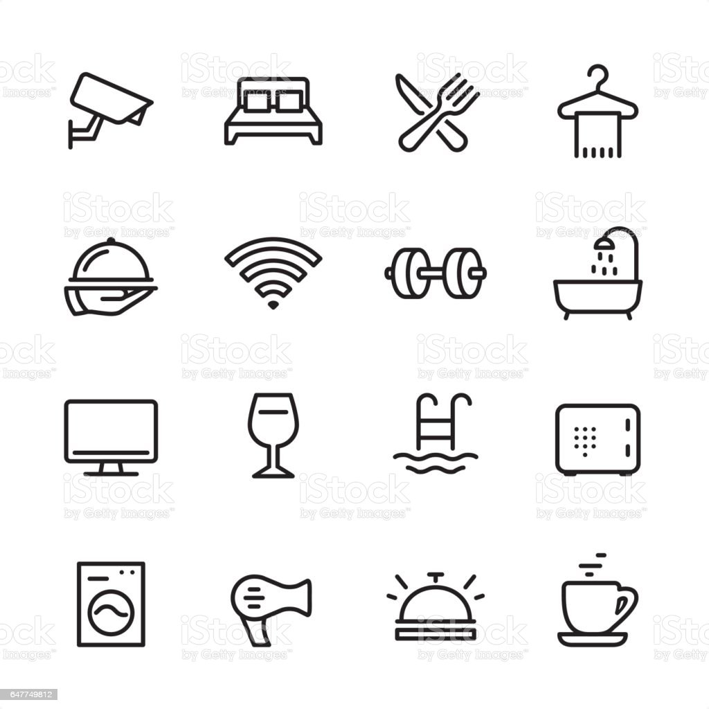 Hotel - outline icon set vector art illustration