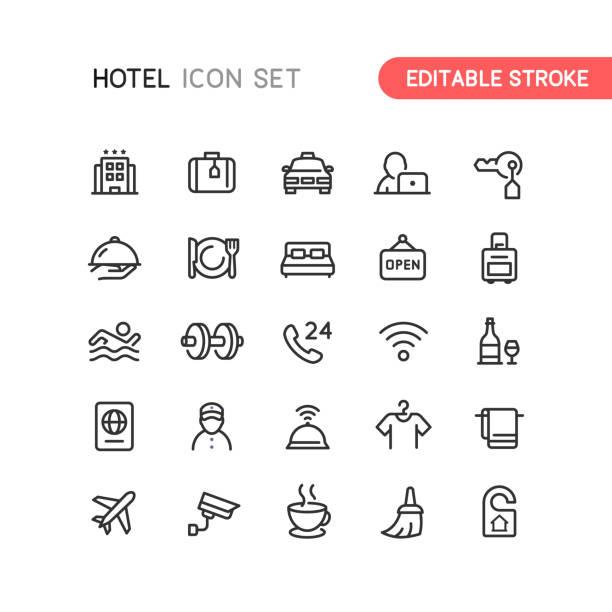 ikony konturu hotelu edytowalny obrys - hotel stock illustrations