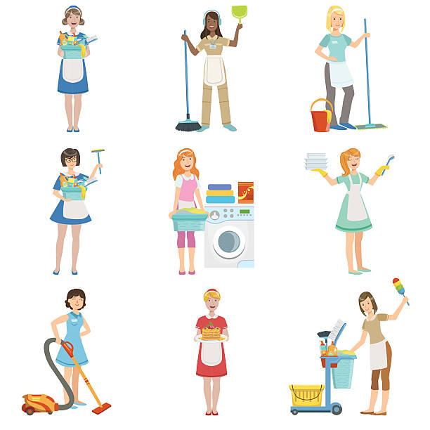 illustrazioni stock, clip art, cartoni animati e icone di tendenza di hotel professional maids with cleaning equipment set of illustrations - cameriera